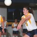 Marquette volleyball player  Jennifer (Myers) Gentry passes volleyball, 1995