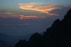 Coucher de soleil sur le Filosorma depuis la vire du Tafonatu