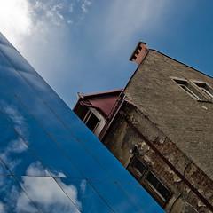 Mix of Old and New (Ilkka Hamalainen) Tags: blue summer building architecture nikon europe slovenia ljubljana slovenija d40x ilkkahämäläinen