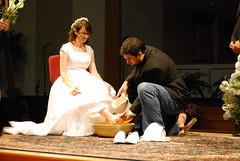 Nathan washes Sarah's feet