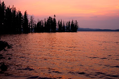 Waldo Lake Sunset (Zack Mensinger) Tags: camping lake water oregon waves nationalforest canon10d 2008 waldolake willamettenationalforest naturalareas lakesurface
