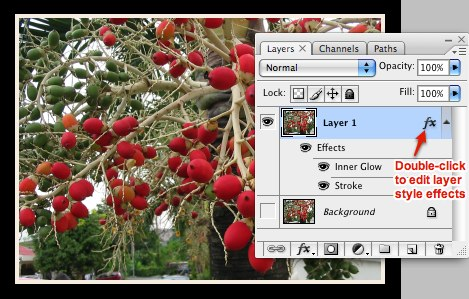 Framing with Layer Style: initiate editing effects from Layers Palette