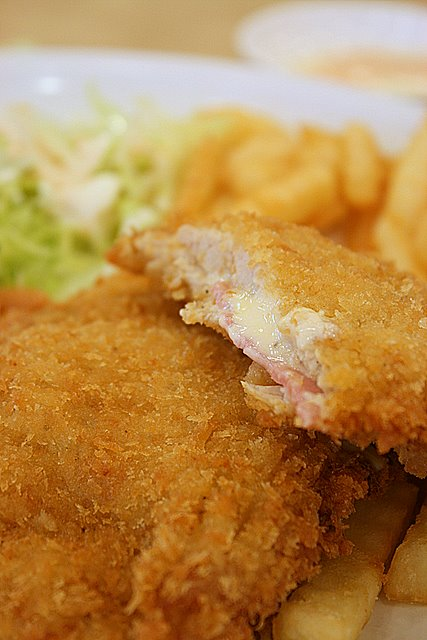 Fried pork cutlet with ham and cheese (S$8)