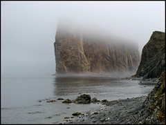 Rocher perc III ( CHRISTIAN ) Tags: sea mer nature rock fog quebec pierre atmosphere qubec maritime geology rocher brume ambiance gaspsie geologie perc gaspepeninsula rocherperc