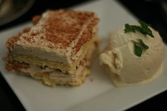 chai cake with apple ice cream (mintyfreshflavor) Tags: cookingclub anniversarydinner appleicecream chaicake