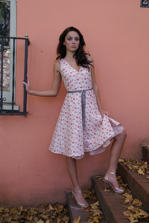 pink and white dress
