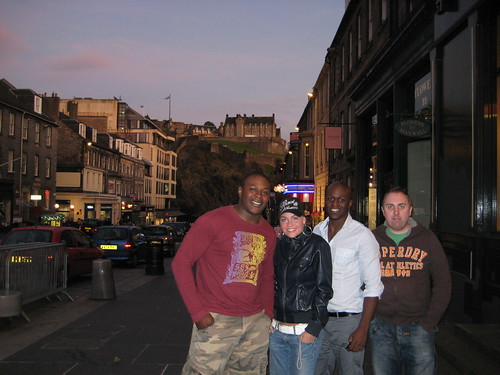 Peter, Helena, Femi and Graham in front of Edinburgh Castle