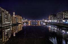 arno by night - firenze / florence, italy - hdr (Paolo Margari) Tags: street city urban italy panorama reflection water night canon river landscape photography lights photo florence reflex italian italia foto ph