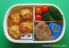 Mini quiche bento lunch for live TV shoot