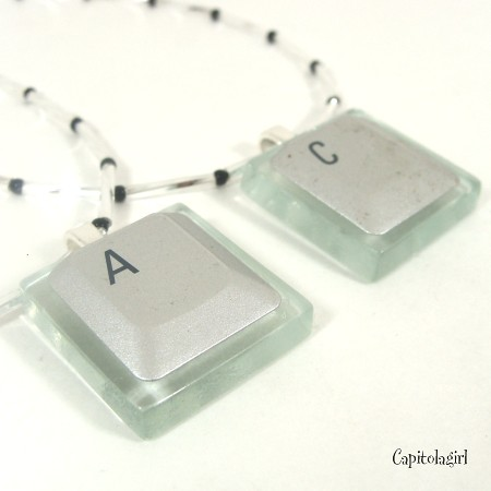 Silicon Gallies - Next Generation Glass Tile Pendant - Silver Laptop Computer Key - Choose Your Letter or Number