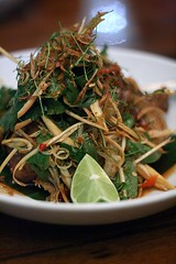 Crisp fried duck and banana blossom salad with sweet fish sauce