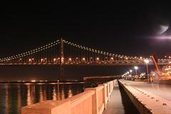 Ghost of a Man (odwallafemme) Tags: sanfrancisco bridge night baybridge embarcadero sanfranciscobaybridge