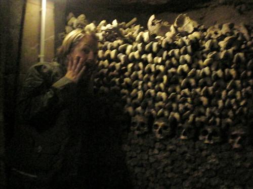 Finn's scard of femurs and skulls