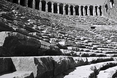 The 39 Steps (Andy Brown (mrbuk1)) Tags: blackandwhite bw architecture ancient angle roman stonework masonry perspective arches pointofview rows seats