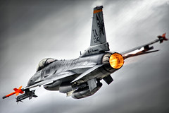 Portrait Of An F-16 Afterburner Departure (Kris Klop - clearskyphotography.com) Tags: usa plane airplane fly us flying airport aircraft aviation flight overcast f16 viper usaf iang fightingfalcon mywinners