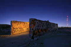 drive thru (tgagephoto) Tags: longexposure moon abandoned night canon graffiti fullmoon elpaso 5d walls quarry landfill copyrighted lightpaiting 1635mmf28l ihveissues tomgagephotography tgage