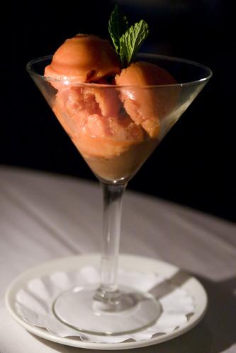 blood orange sorbet, chocolate sorbet