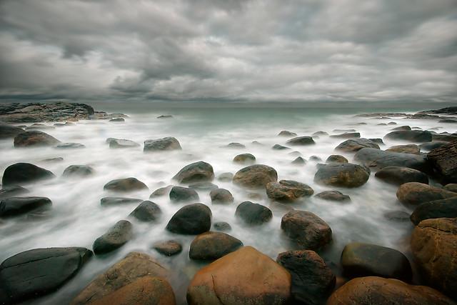 stormy stone beach