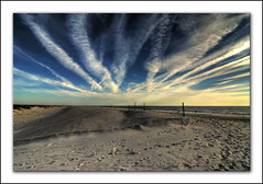 Sunrise @ Assateague Island Beach (Nikographer [Jon]) Tags: blue beach clouds fence landscape landscapes md nikon october dunes oct footprints maryland d200 assateagueisland 2008 contrails hdr photomatix nikond200 20081011d200133671