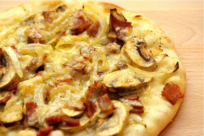 mushroom, gruyère, and bacon pizza