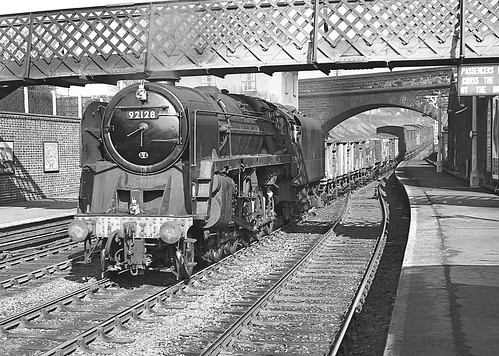 Class 9F no.92128. Bromsgrove station. 2 March 1963