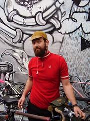 Bearded cyclist (Velovotee) Tags: stpeters cyclists sydney australia s bicycles nicholas nsw launchparty bff bikefashion bicyclemechanic maylane vélocouture roadedge
