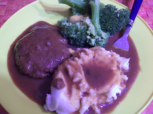 Dinner: Patty with Brown Gravy, Mashed and Broccoli with Cheese