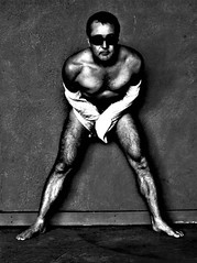 Metallica (Harvey Schiller - chateauglenunga) Tags: shirtless portrait white man black texture muscles sunglasses shirt photoshop self nude floor chest thighs harvey figure form wal calves sunnies selfie ake nked chateauglenunga