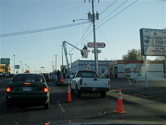 Pineville NC workers holding up traffic