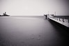 Minimum (Khaled A.K) Tags: longexposure sea blackandwhite bw seascape monochrome mono pier mosque slowshutter sa jeddah minimalism saudiarabia khaled bnw waterscape ksa saudia jiddah kashkari