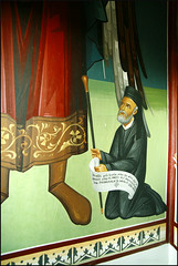 Archbishop Makarios III praying to Archangel Gabriel (-Filippos-) Tags: wall painting iii praying cyprus christian kneeling orthodox fresco 3rd archbishop makarios  monsatery         analyontas  archangelosmikhail