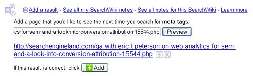 SearchWiki Add Result