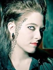 hot girl tattoo female dark eyes vampire gothic emo tattoos contacts hottopic vampiress scenester