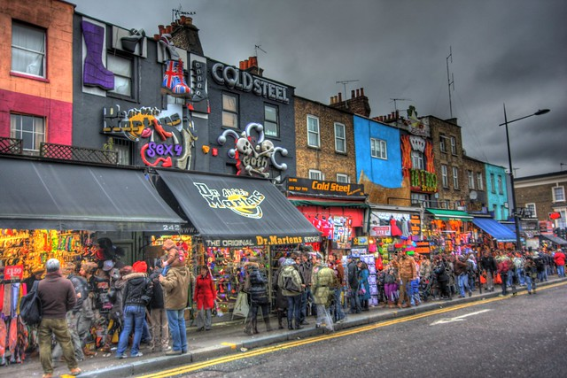 Camden High Street looking towards the Dr Marten shop and various other