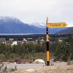 Eyecatching signpost, Skibotn (1968)