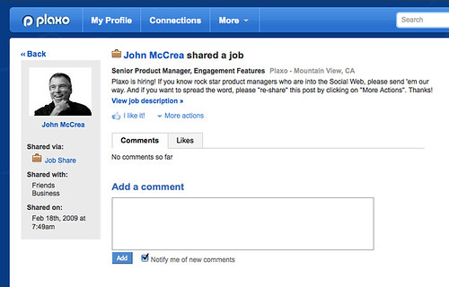 like job listings anywhere else job listings on plaxo are turbo