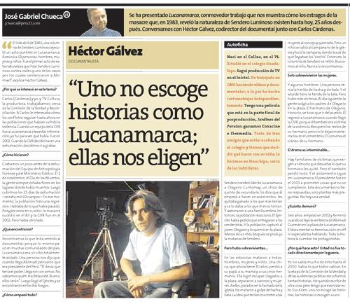 Perú21: Entrevista a Héctor Gálvez, codirector de Lucanamarca
