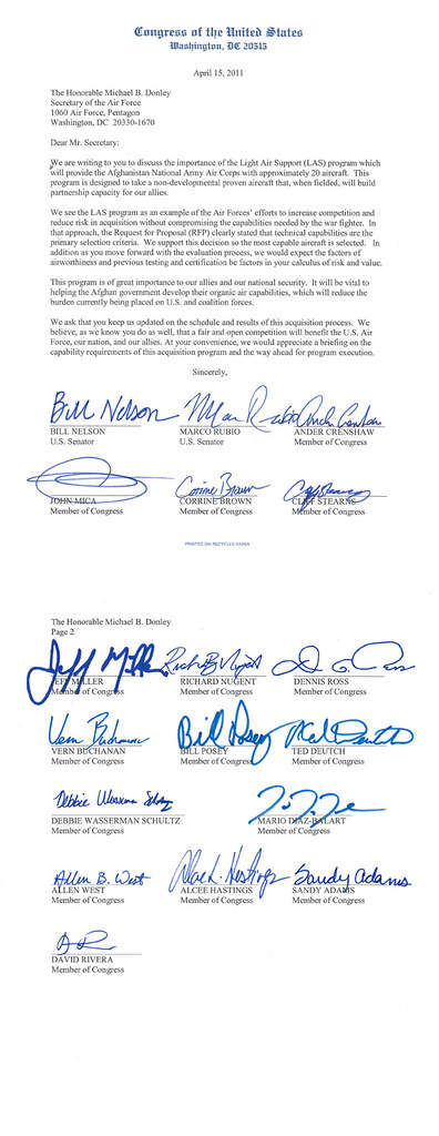Congressional Delegation Letter to Secretary of the Air Force