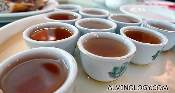 Traditional Chinese tea to clear palates before heading to the second stop