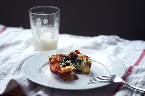 Mini spinach, champignon and cheese quiche