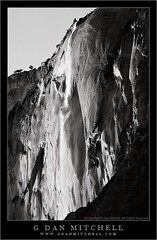 Horsetail Fall, Sunset (Black and White) (G Dan Mitchell) Tags: california travel winter light sunset blackandwhite cliff usa mountains fall landscape waterfall nationalpark rocks dusk stock scenic valley yosemite granite february elcapitan horsetail firefall induro gdanmitchell