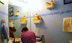 Mom with Da Ducks (Dr. Starr, geeky artist librarian) Tags: family art painting mom bathroom dawn march duck momo mural paint ducky rubberducky ourhouse 2008 rubberduck duckie artstuff rubberduckie 810overland ourmurals