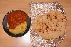 Chicken Balti Bhuna and Pilau Rice versus Plain Nan, takeaway from The Guru Balti Restaurant, Edinburgh