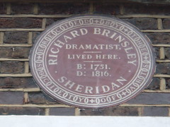 Photo of Richard Brinsley Sheridan brown plaque