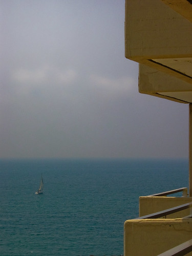 Sailboat on the Med from the Hilton Tel Aviv