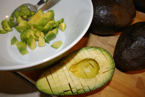 Dicing the avocado