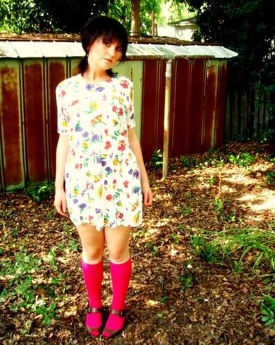 bright floral dropwaist dress