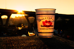 Summerfest 08 Plastic Cup (whenlightfalls) Tags: bridge sunset summer musician music orange cup beer fashion festival wisconsin happy model smiley milwaukee editorial summerfest lupus plasticcup whenlightfalls modamuneca