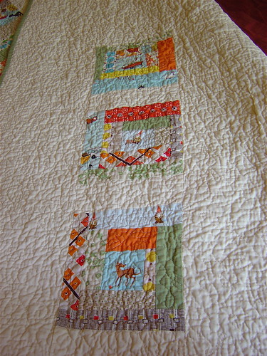 Gender Neutral Baby Quilt Back Close Up