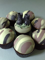 Combat Cakes (SmallThingsIced) Tags: green cakes army boots camoflauge